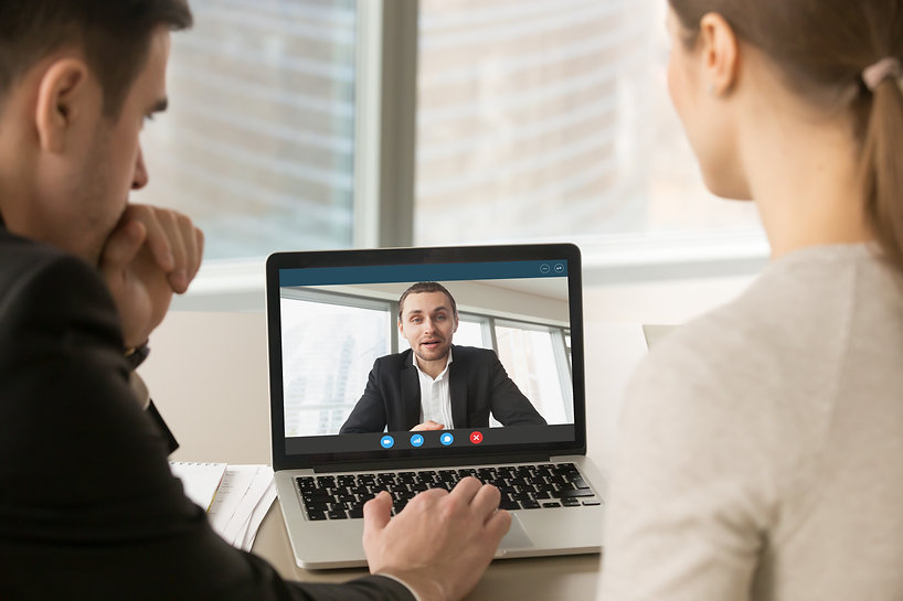 Employees participate virtual conference
