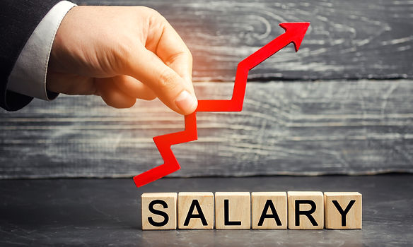 The inscription _salary_ and the red arr