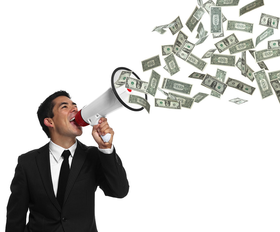 Businessman yelling into a megaphone wit