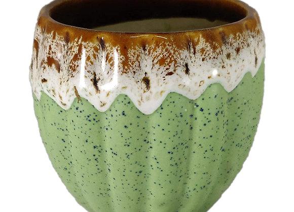 UrbanRoots Vertical Ridges Ceramic Pot (3 inch)
