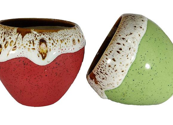UrbanRoots Small Apple Cream Ceramic Pot (3.5 inch) (Combo)