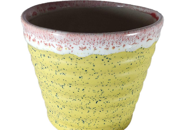UrbanRoots Horizontal Ridges Ceramic Pot (4 inch)