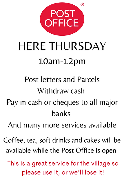 We are delighted to be hosting the mobile Pos Office every Thursday morning 10am-12pm.png