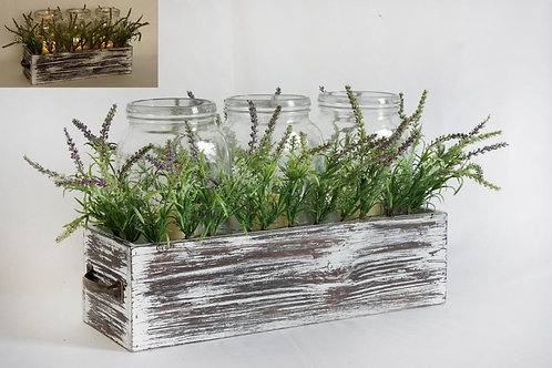 Wood Washed Box with Greens