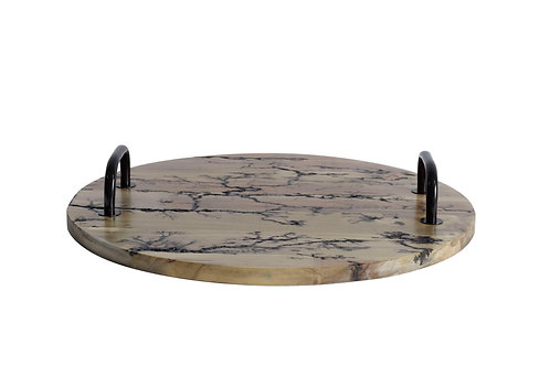 Round Wood Tray with etching