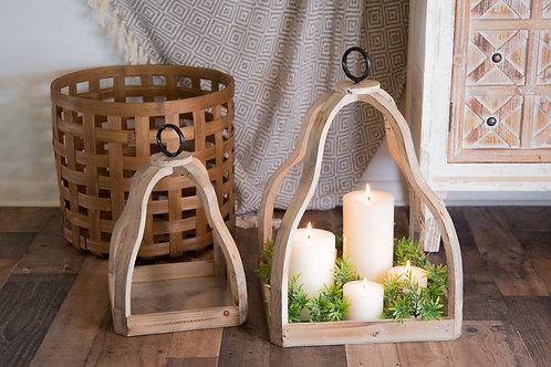 Wood Candle Trays Set of 2