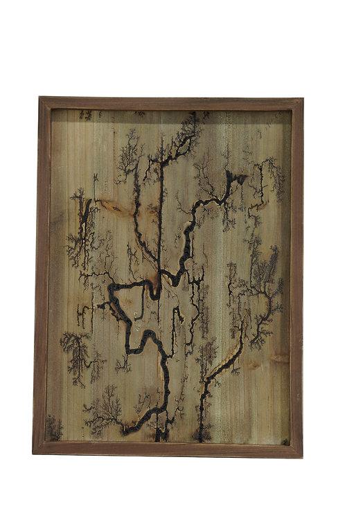 Rectangle Wood Burn Wall Art Brown
