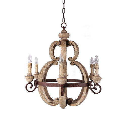 Aster Wood and Metal Chandelier
