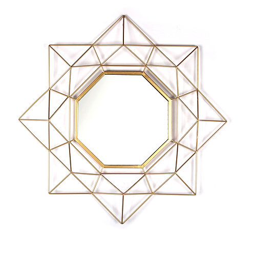"28"" Geo Gold Metal Wall Mirror"