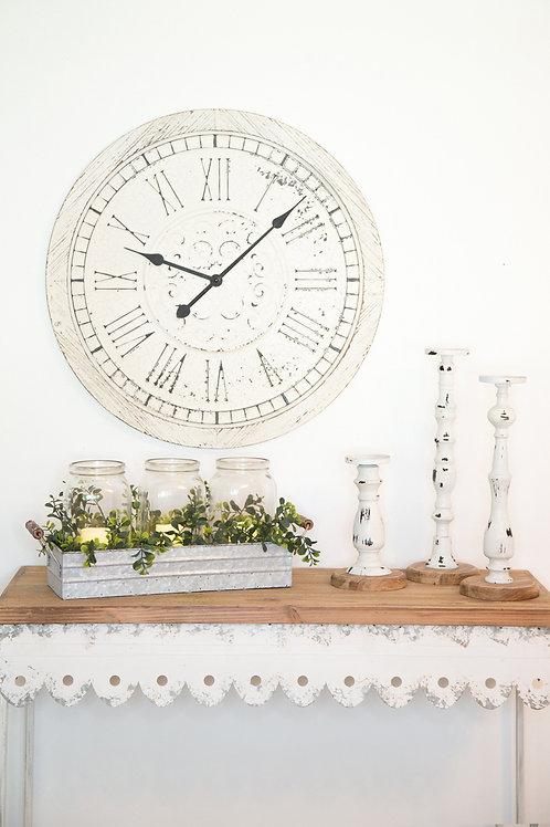 Embossed Metal & Wood Clock