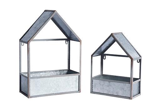 Metal House Planters set of 2