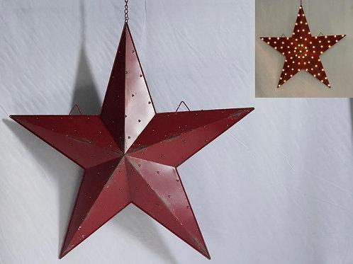 Lighted Metal Red Barn Star