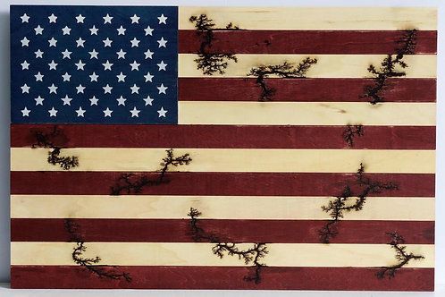 Wood Burn American Flag
