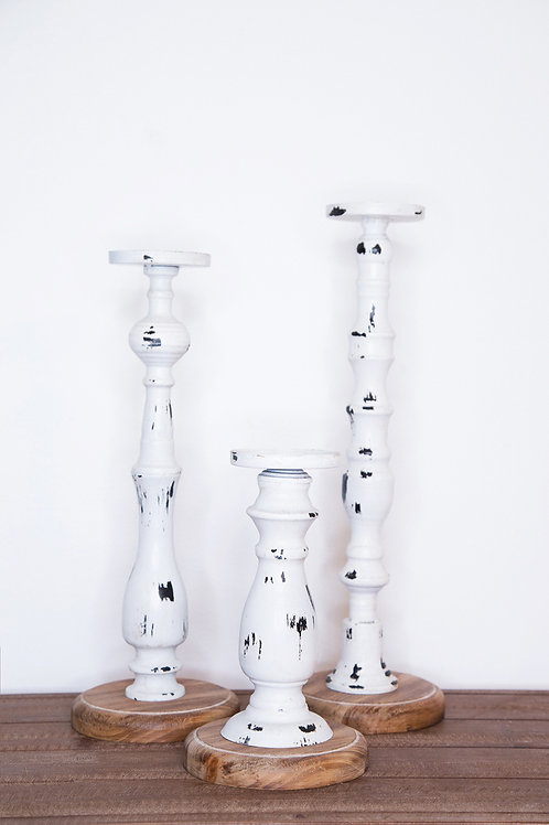 S/3 Distressed Metal and Wood Candleholders - White