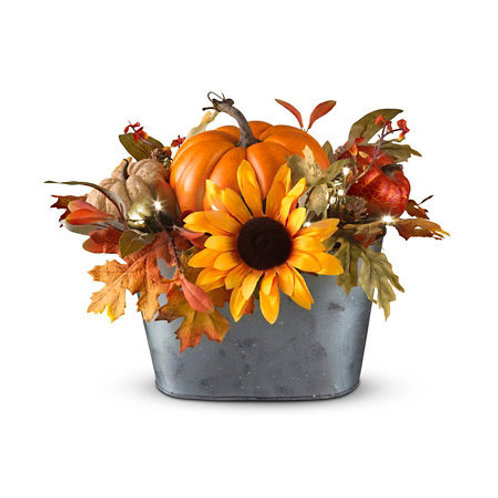 Fall Floral Centerpiece in Galvanized Basket