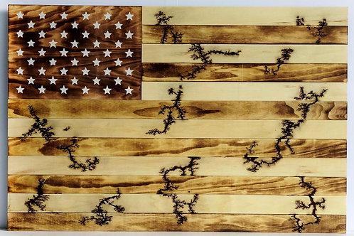Wood Burned American Flag Wall Art