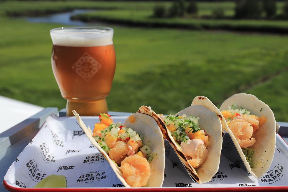 Great Marsh Brewing beer tacos views