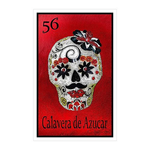 """Calavera de Azucar """"Crimson""""  16"""" x 25.27""""  Canvas Print"""