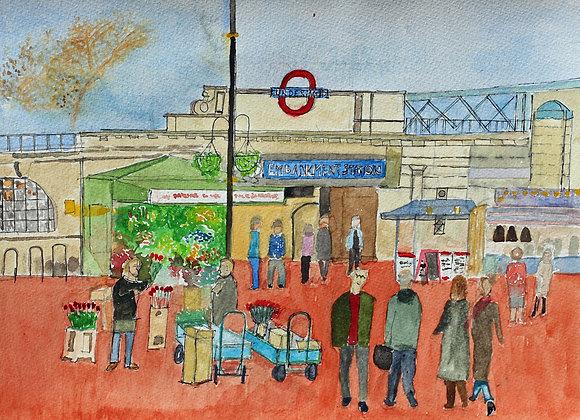 Flower sellers, Embankment Tube Station