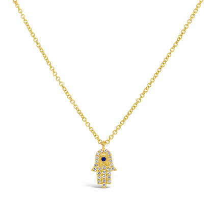 DIAMOND HAMSA YELLOW NECKLACE