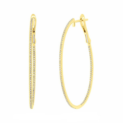 DIAMONDS ALL ROUND YELLOW HOOPS EARRINGS