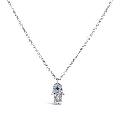 DIAMOND HAMSA WHITE NECKLACE