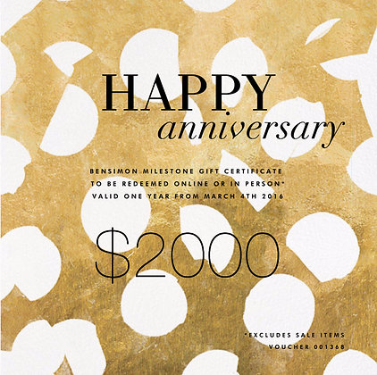 $2000 HAPPY ANNIVERSARY