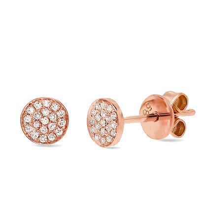 DIAMOND COBBLE STONES ROSE EARRINGS