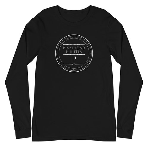 Unisex Pikkihead Militia White Logo Long Sleeve T-Shirt