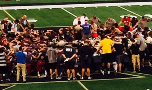 Owasso, Union, BA & Jenks players join together in prayer