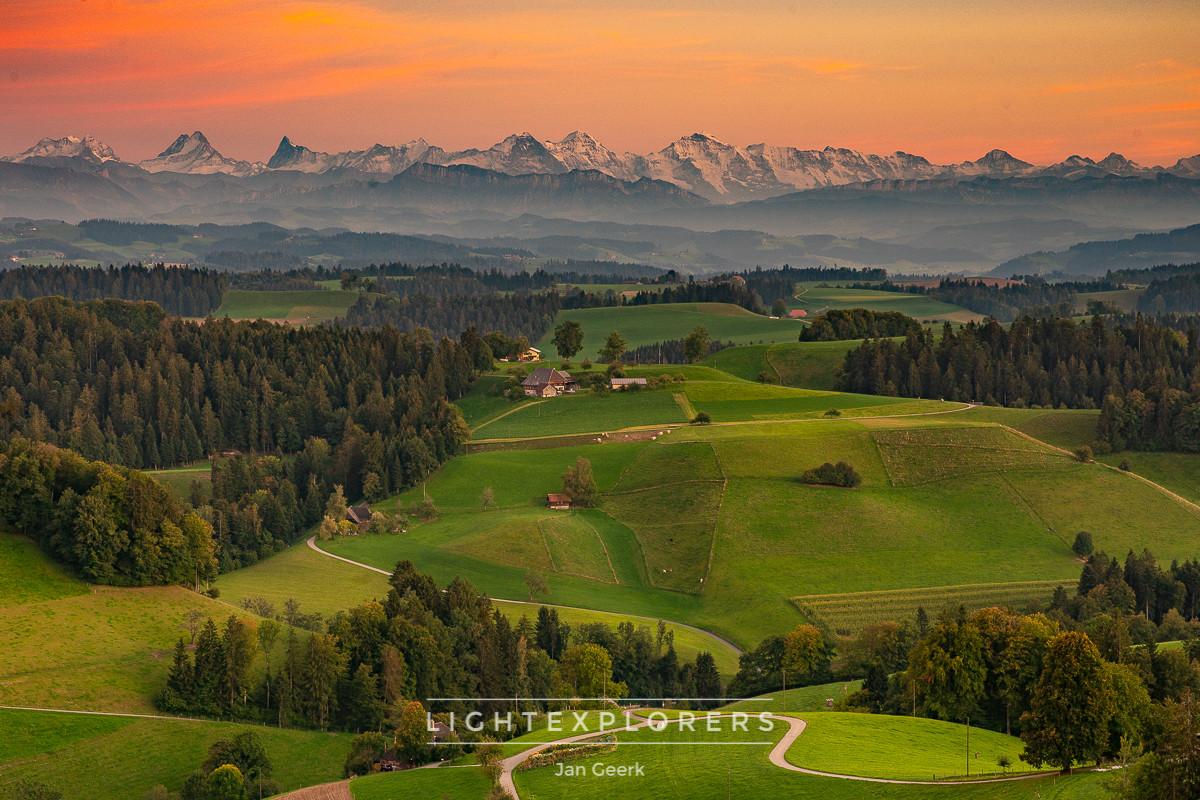 Emmental-Sonnenuntergang-Alpen