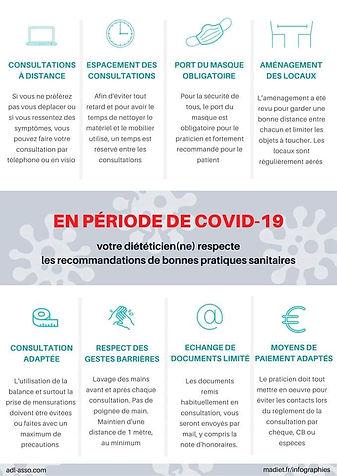 Recommandations COVID-19 en vue de votre consultation diététique
