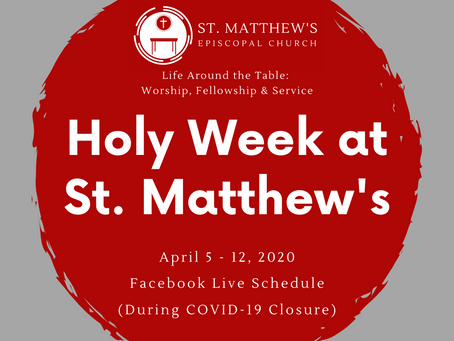 Holy Week & Easter Live Stream Schedule (COVID-19 Update)