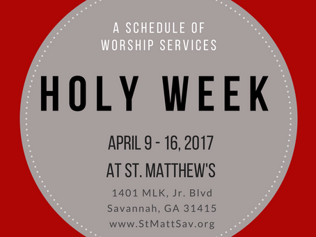Holy Week & Easter Day Schedule