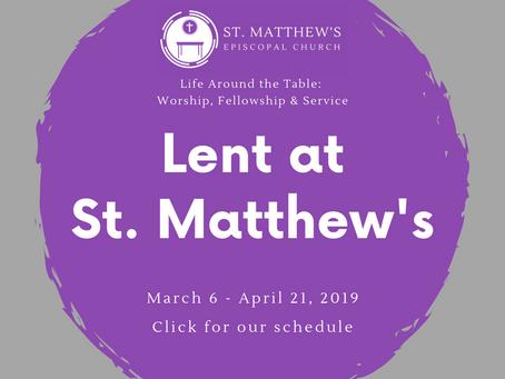 Lent 2019 Schedule