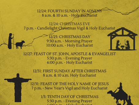 Worship Schedule for Christmas 2017