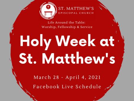 Holy Week & Easter 2021 Worship Schedule