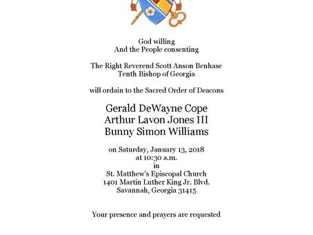 Ordination of Deacons: Cope, Jones, & Williams