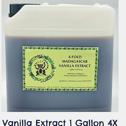 1 Gallon 4 Fold Madagascar Bourbon Vanilla Extract sold in 1.1 LB jugs