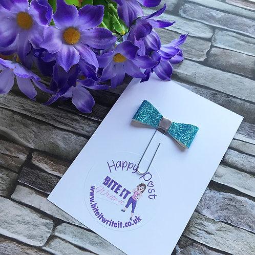 1 x Blue Sparkle - Bow Paper Clips