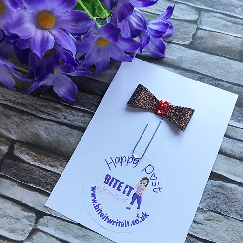 1 x Brown/Red Sparkles - Bow Paper Clips
