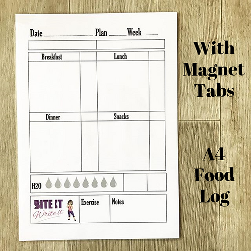 A4 Daily Food Journal - Magnetic Fridge Tabs - Dry Wipe