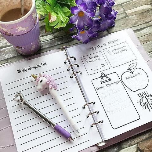 12 Week Food Diary Organiser Insert
