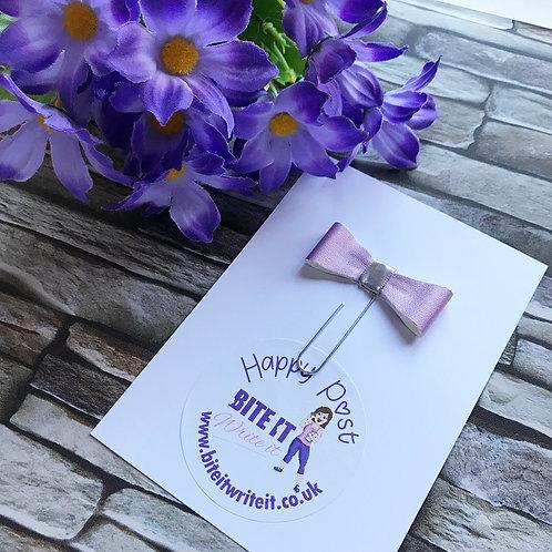 1 x Purple Leather effect - Bow Paper Clip
