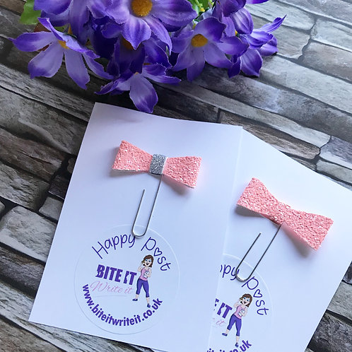 1 x peachy - Bow Paper Clips