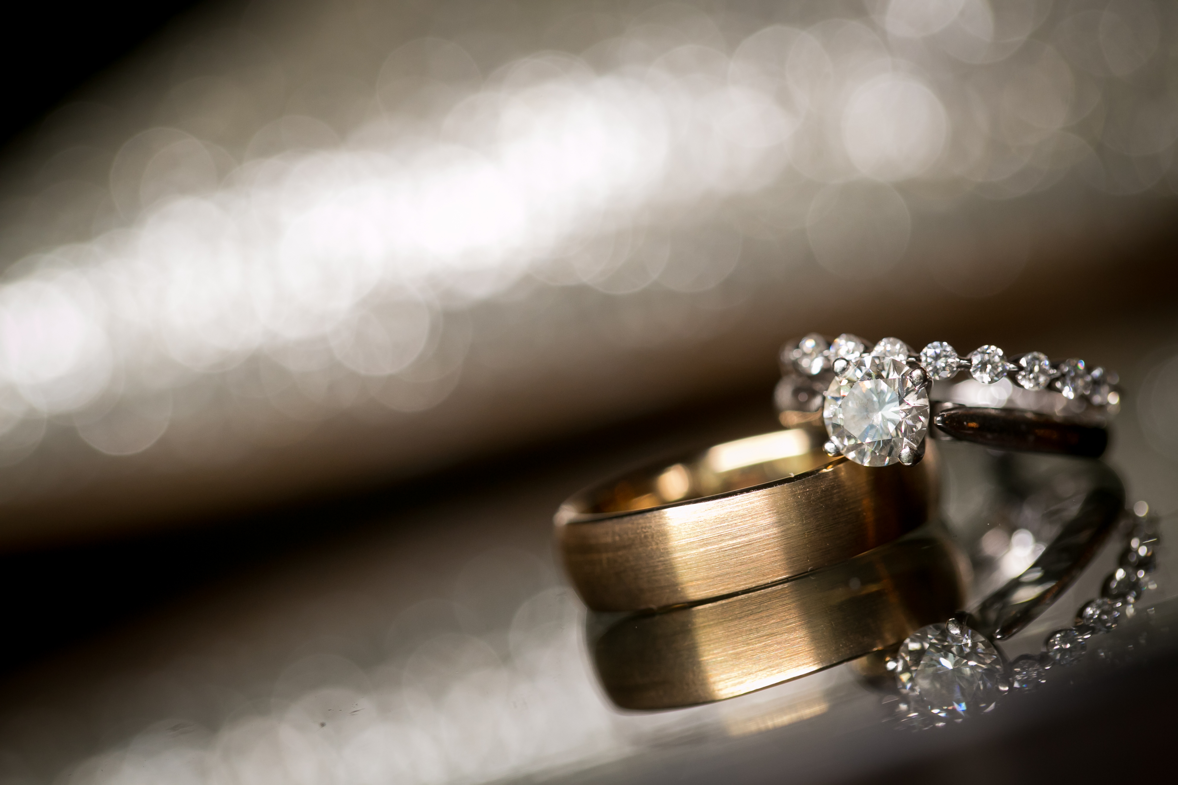 Wedding Rings and Bride's Shoes Background