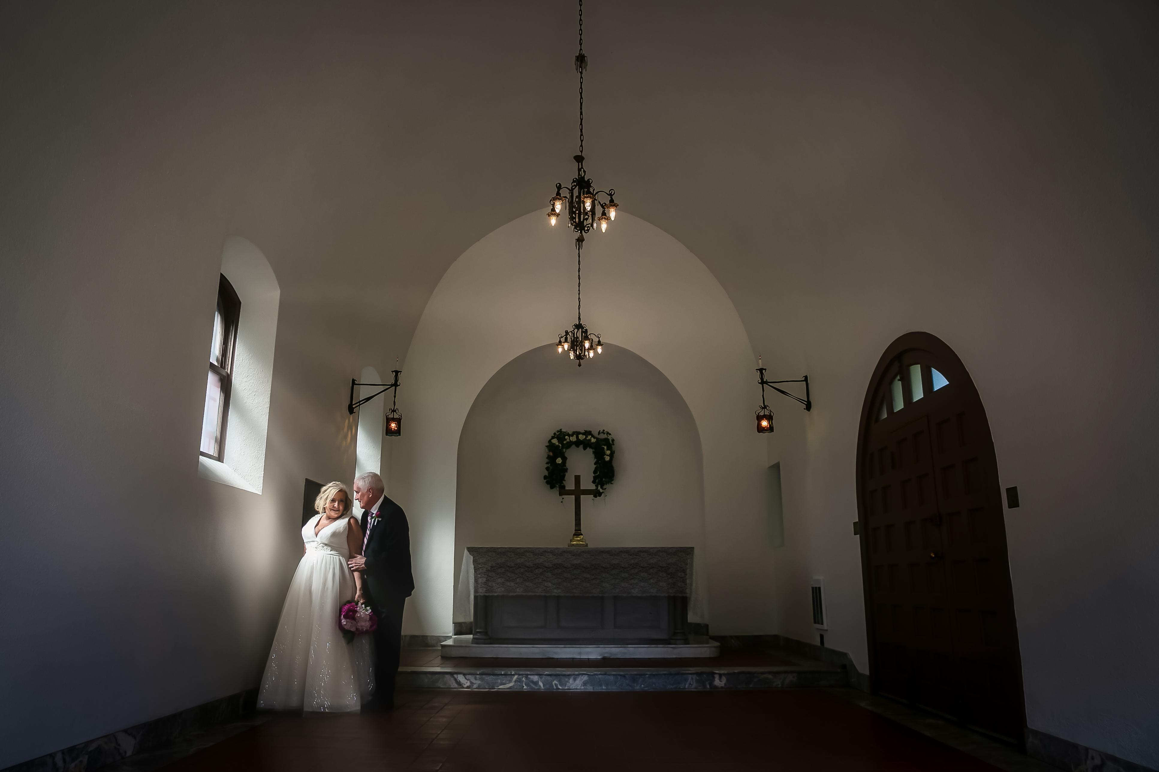 Mature Wedding Couple in the Sunrays