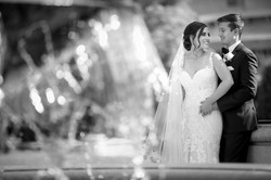 Bride and Groom Portrait by Fountain