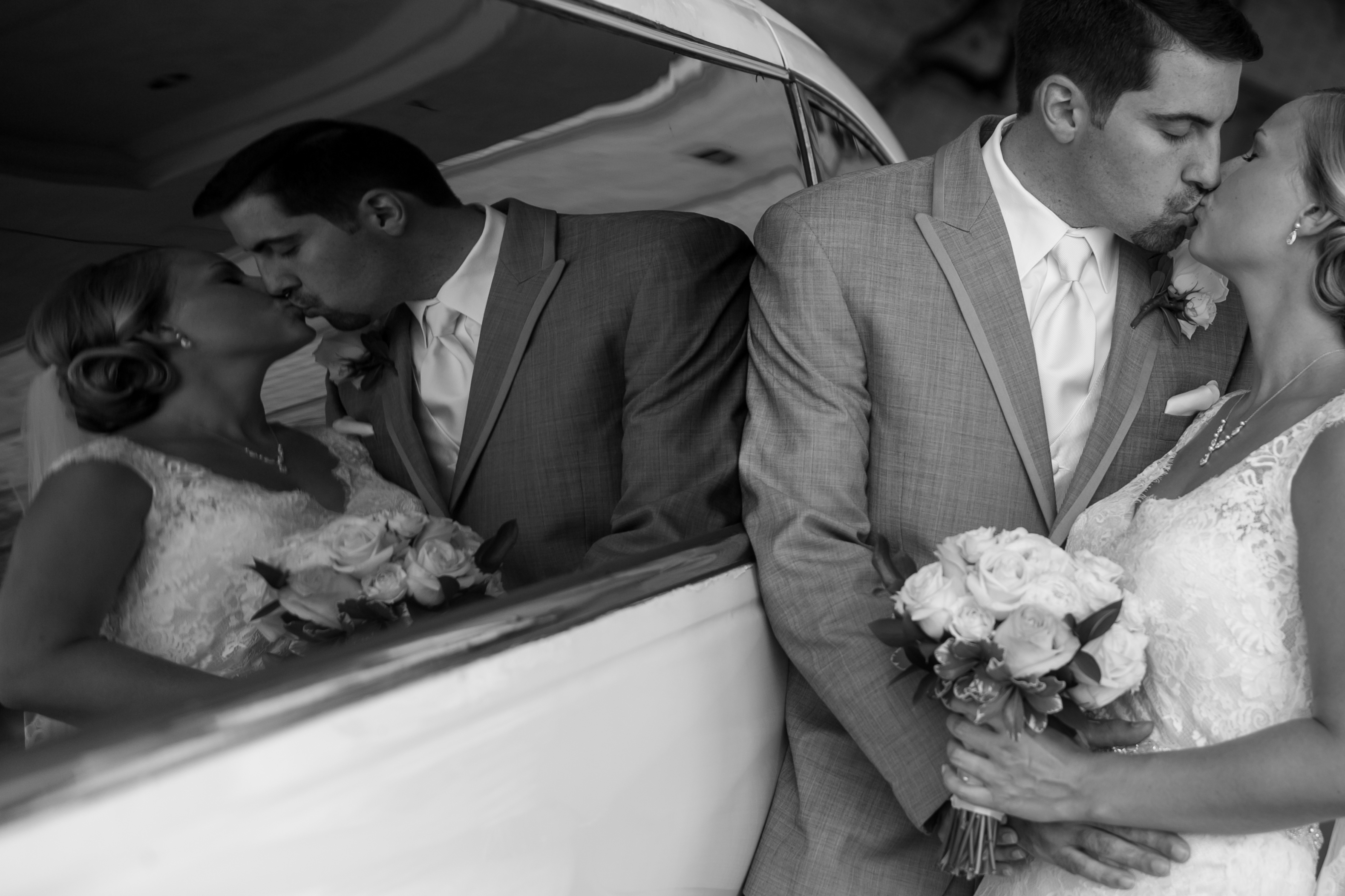 Bride and Groom Kiss Reflection