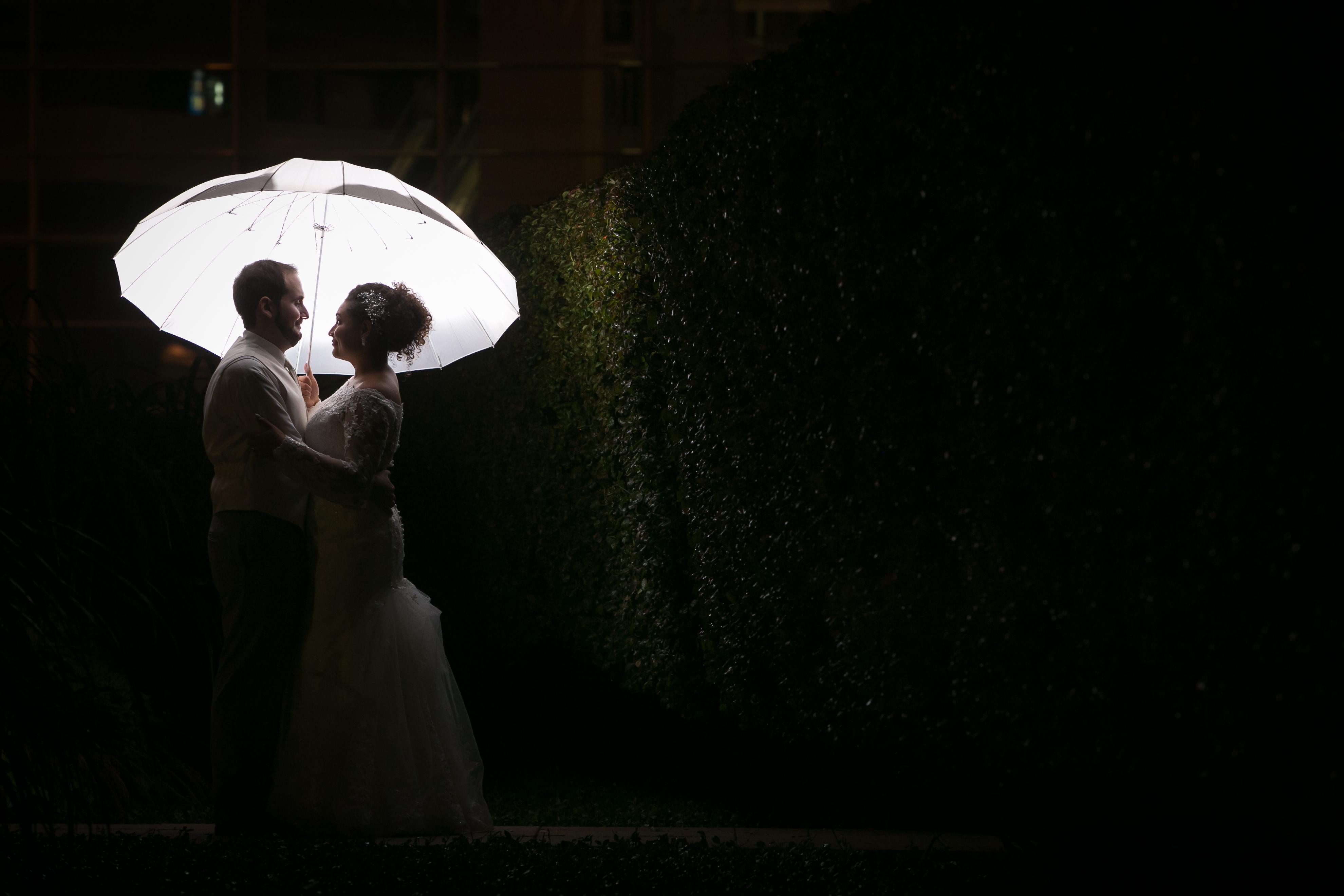 Bride and Groom Portrait: Holding White Umbrella